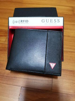 Brand new with tag in box original Guess Men Leather Wallet with RFID protection