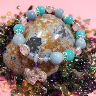 DIY Amazonite & Aquamarine Bracelet with Charm