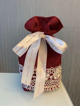 紅色麻布 絲帶索繩 收納袋 禮物布袋