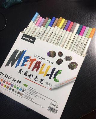 20 Metallic brush pens