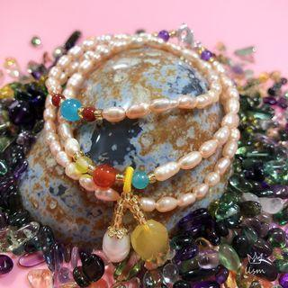 DIY Pearl Bracelet/ Necklace with Amber Charm