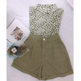 韓國棉麻短褲