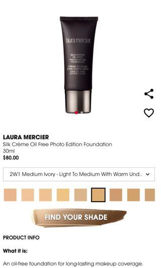 🚚 Laura Mercier Silk Creme Photo Edition Foundation