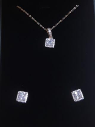 🚚 ARTISTRY - Rose Gold Halo Cushion Cut Necklace & Earring Set