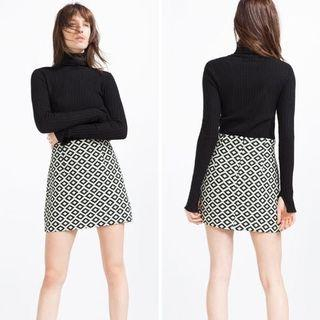 Zara black white printed mini skirt Xs