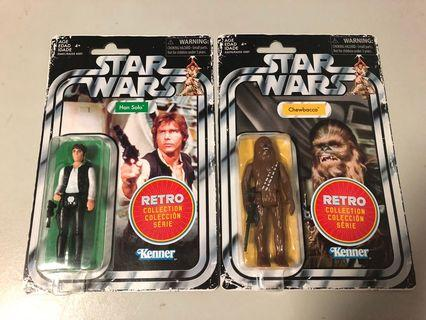 Star Wars retro Han Solo and Chewbacca set vintage reissue