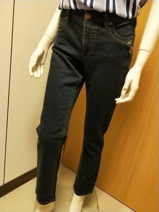 🚚 深藍彈性伸縮牛仔褲 版形特加顯瘦