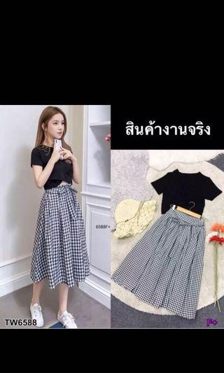 Black/Grey top Checkered skirt set
