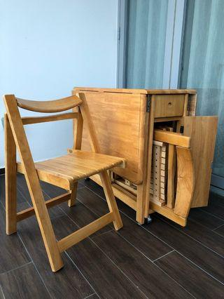Foldable table with chairs