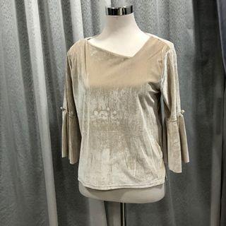 Velvet bell sleeve top