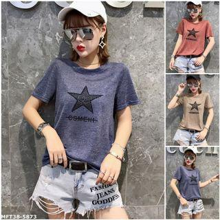 夏季新款星星圖案印花短袖T恤