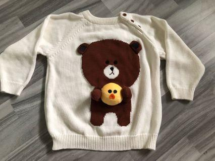 Line character knitted pullover