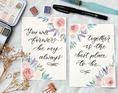 Floral calligraphy vow card set