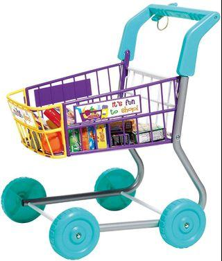 CASDON Toy Grocery Shopping Cart Trolley- Includes Play Food