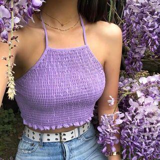 purple scrunched up halter top