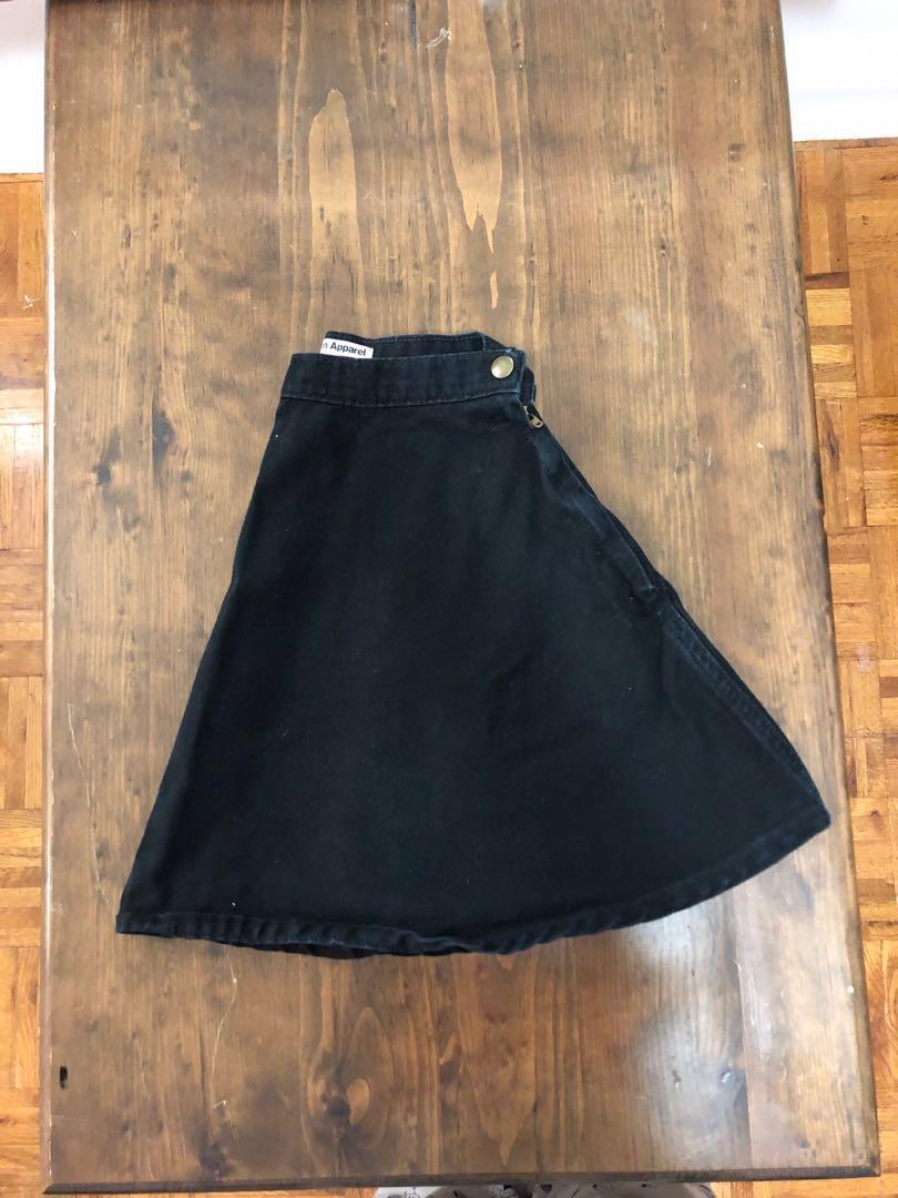 American Apparel Black Denim Circle Skirt (Size Xs)