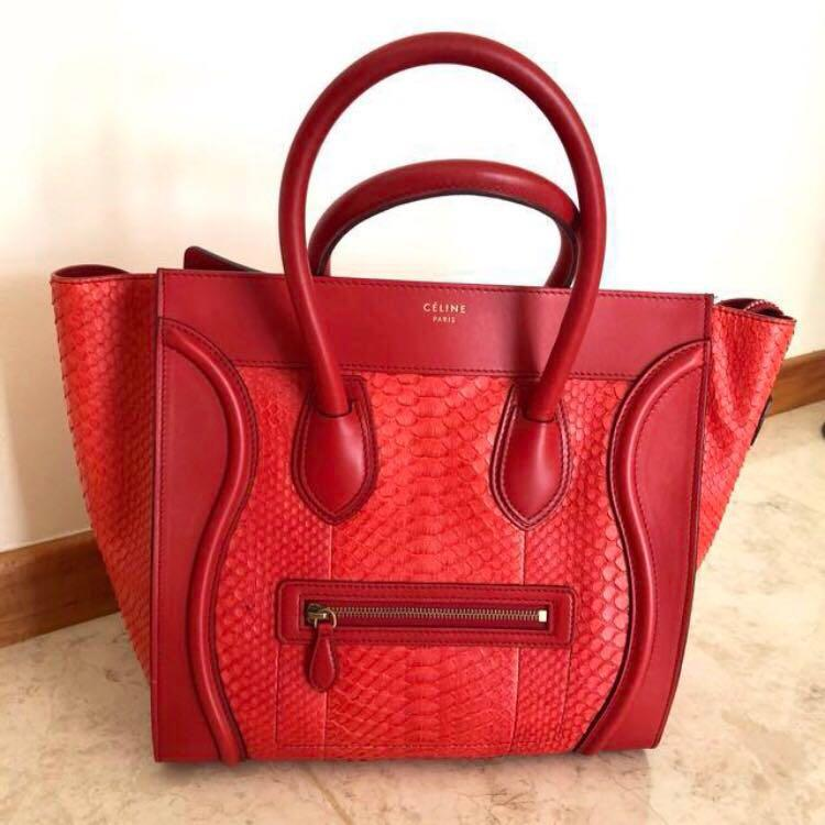 Authentic New in Box Celine Red Leather Exotic Python Snake Skin Tote Handbag Mini Luggage Bag Crimson