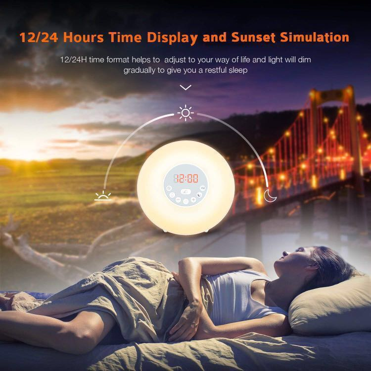 Bedside Light For Bedroom Sunrise Alarm Clock With 7 Colour Light And Fm Radio