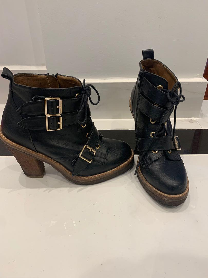 Black Bardot Military army-styled boots with buckles and gold detailing