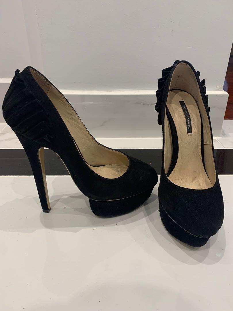 Black suede Tony Bianco stiletto heels with platform