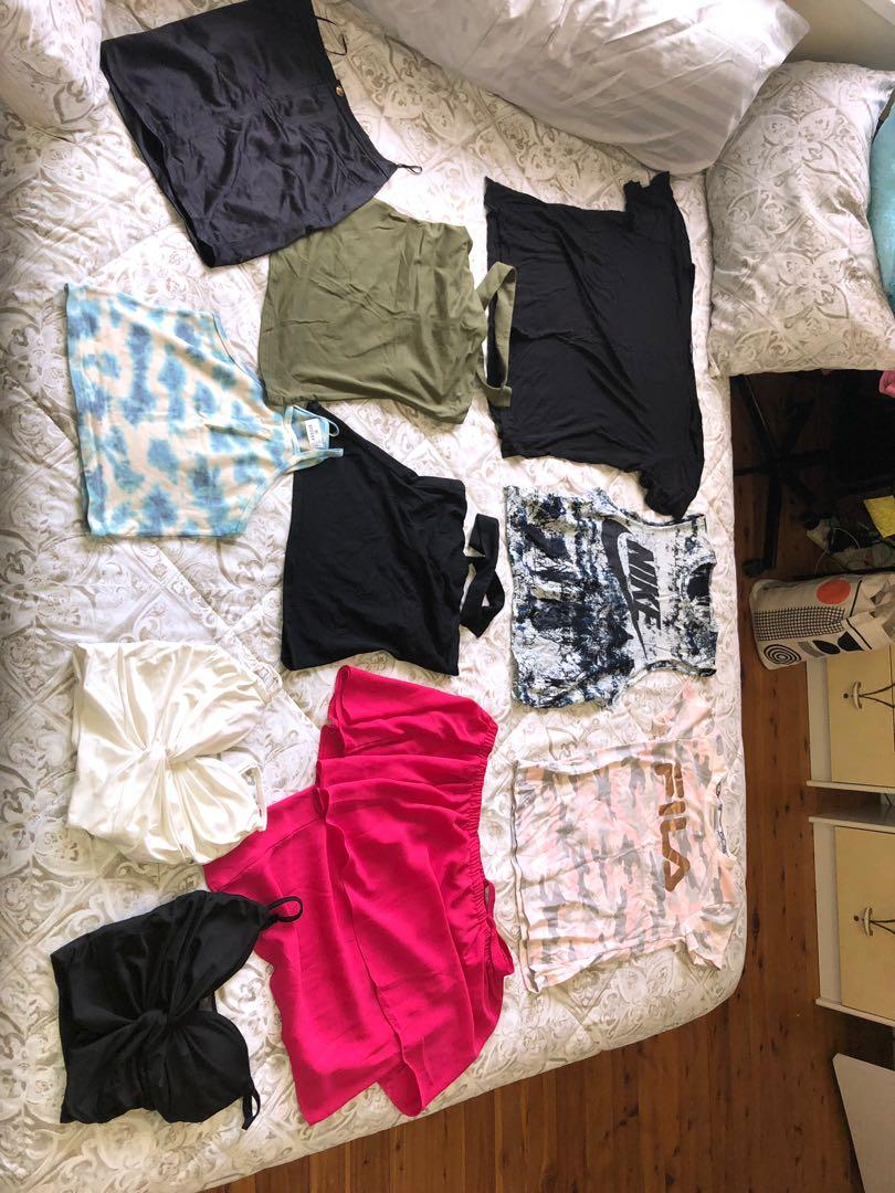 Clothes - shirts, pants, playsuit, dress, skirt, shorts, two-pieces