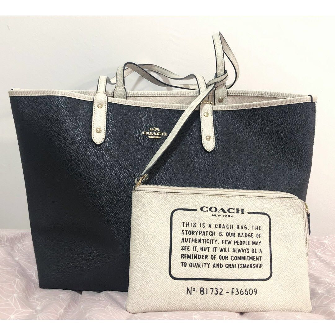 a2a7e383 Coach City Reversible Tote Bag in Black and White Coach Leather
