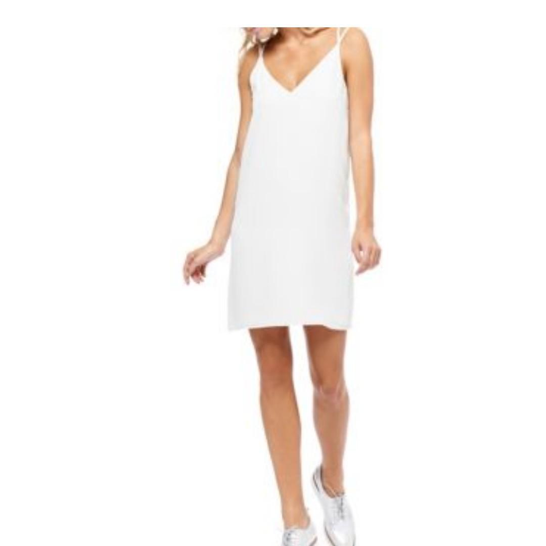 Dex Double Strap Mini Slip Dress (Off-White, Small)