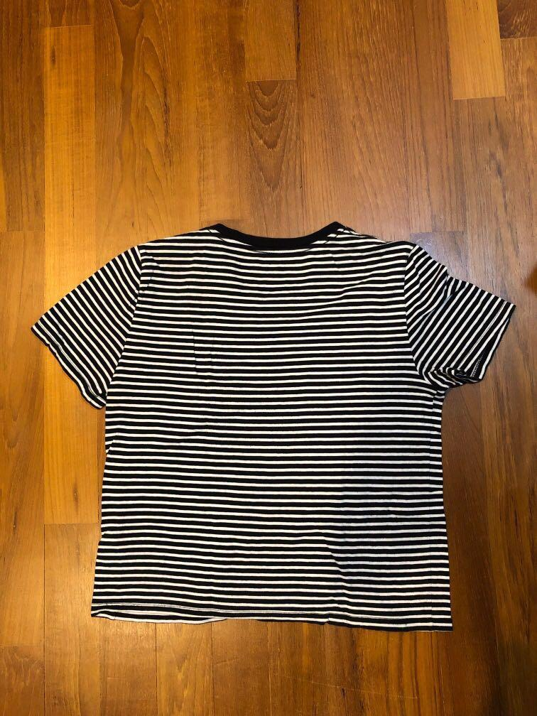 Everlane Boxed Fit Black and White Striped Top