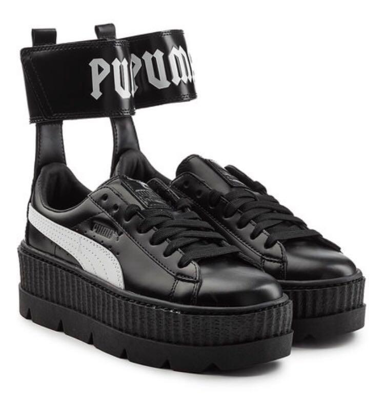 new styles 0774a 661df Fenty x Puma black strap platform sneakers, Women's Fashion ...