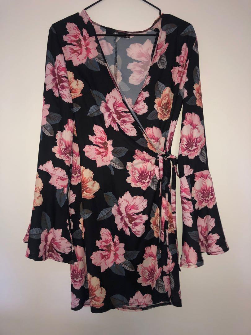 Floral Bell Sleeve Wrap Dress