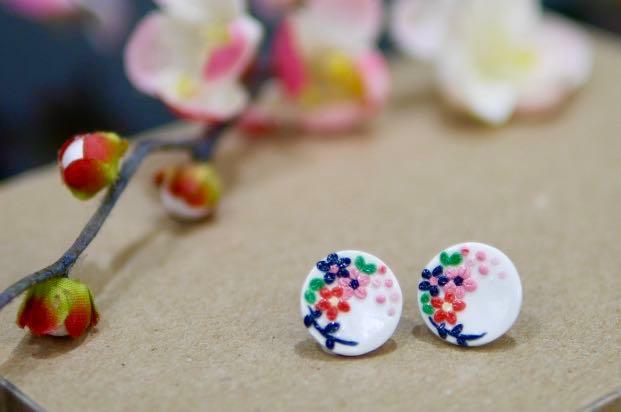 Floral Hand Embroidered Polymer Clay Earrings