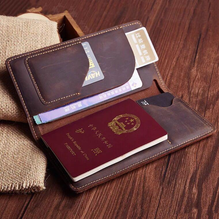 travel document holder Personalized Distressed Genuine Leather passport wallet holder case boarding pass holder travel wallets TW005S