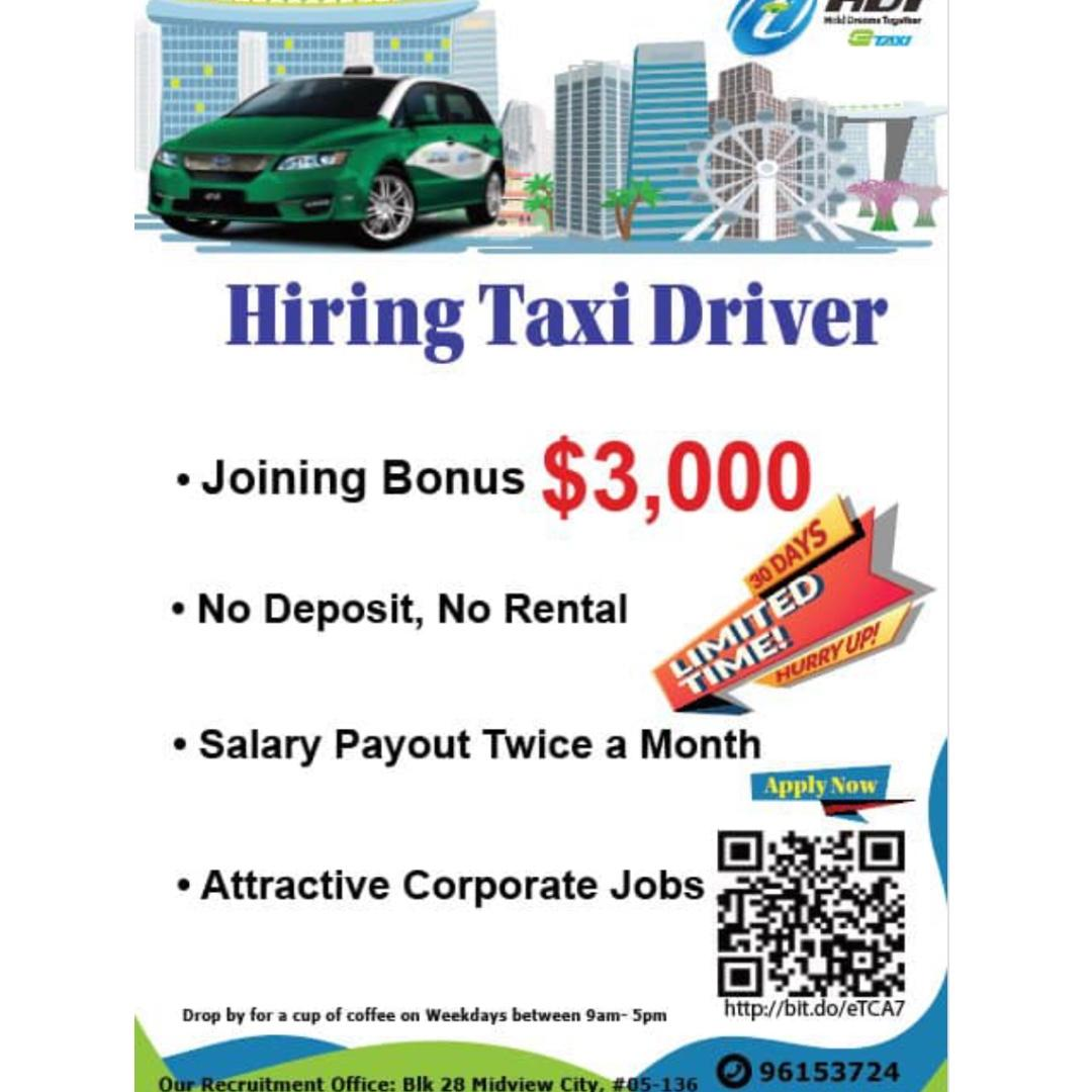 Hiring Taxi Drivers (JOINING BONUS) (NO RENT, DEPOSIT, CONTRACT)
