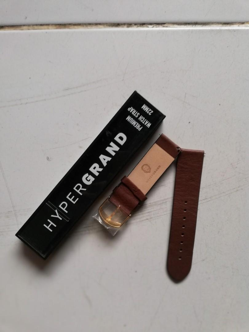 Leather strap brown HYPERGRAND 22mm