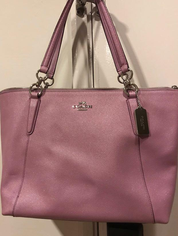 New Coach  authentic Zip Tote Glitter Nude Pink Leather Shoulder Bag