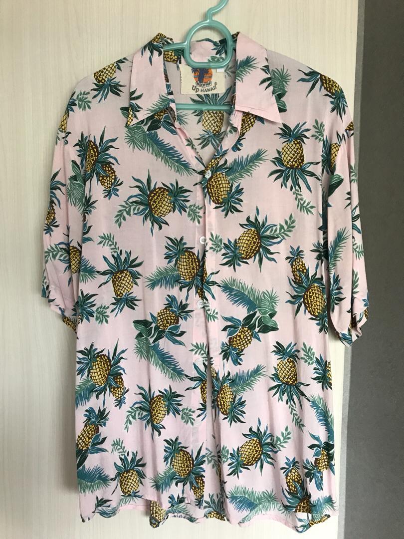Pink floral beach shirt