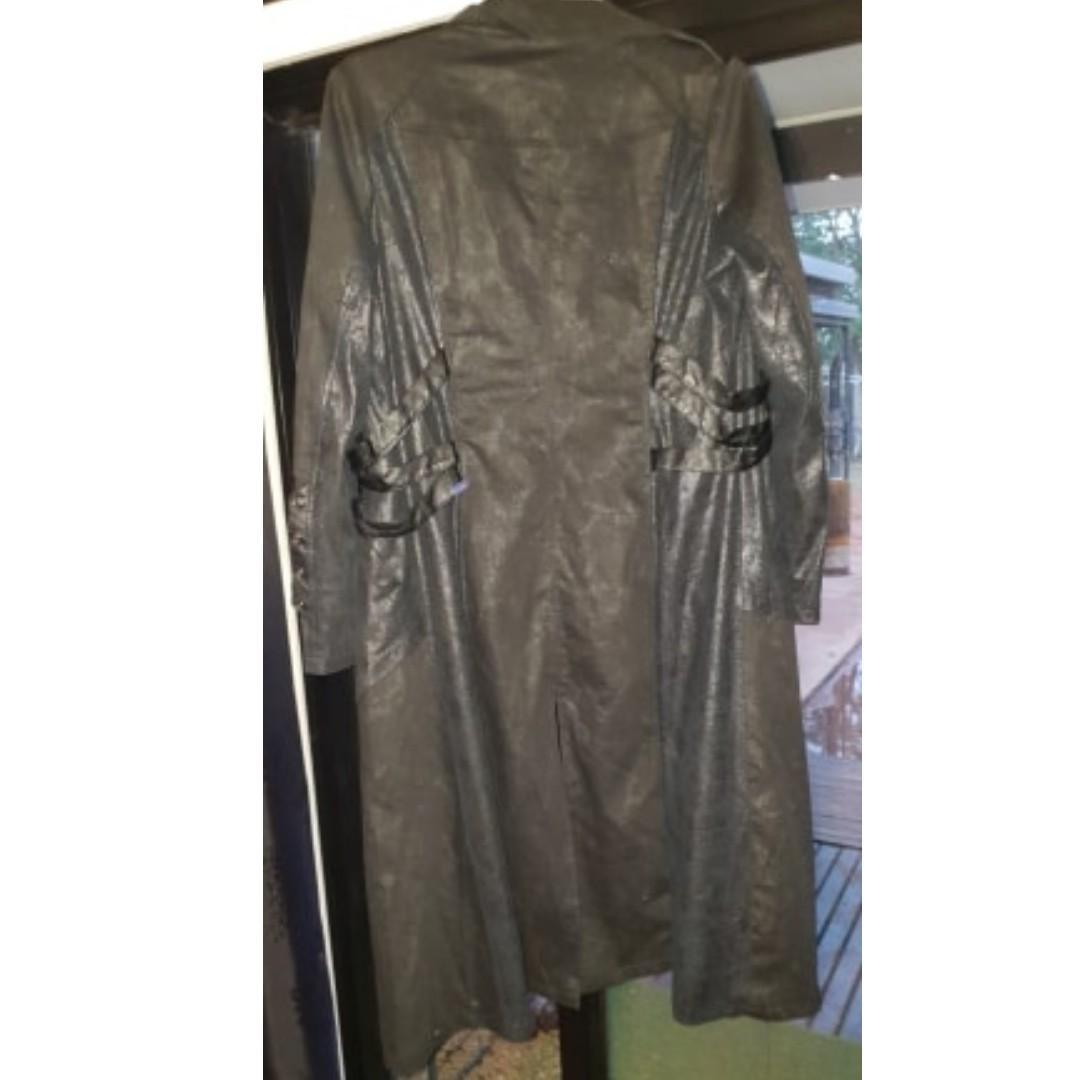 PUNK RAVE XXL long washed leather vampire jacket goth