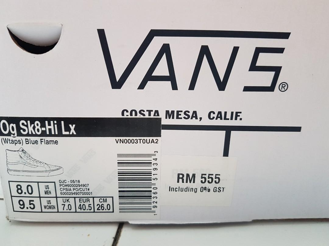 Vans WTAPS Blue Flame size 8US 2nd