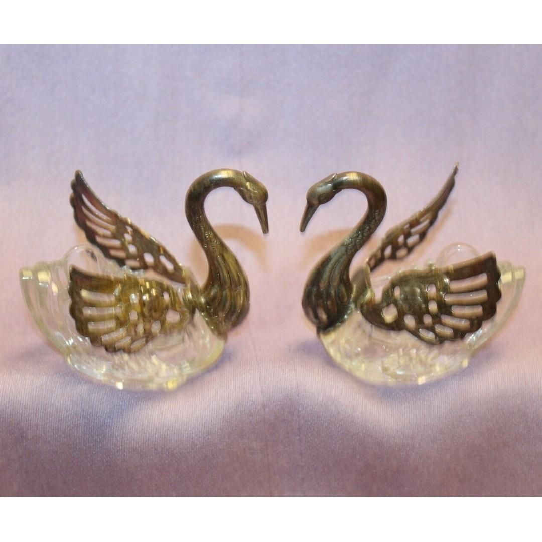 vintage swan salt cellars silver plated with crystal glass