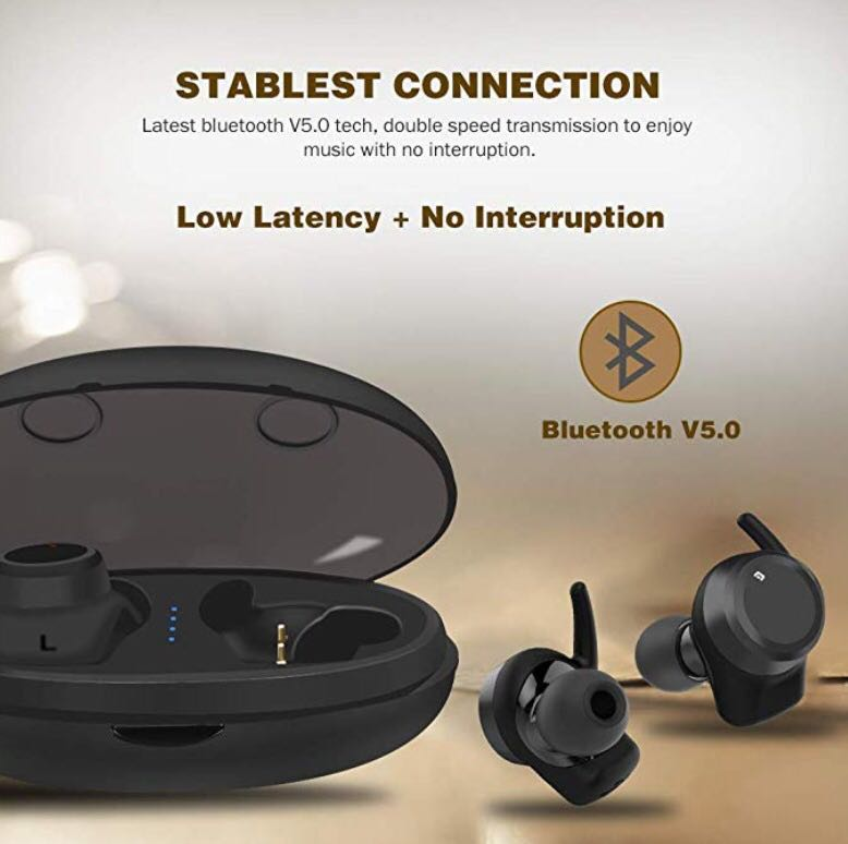 17170f169f0 Wireless Headphones, Snug-Fit 8 Hours Playtime by Single Charge, Bluetooth  5.0 Wireless Earbuds Low Latency, Stereo Noise Cancelling Headphones  w/Microphone ...