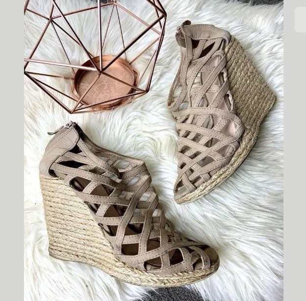 Witchery sz 41/US10 brown beige women woven shoes heels wedges casual straps