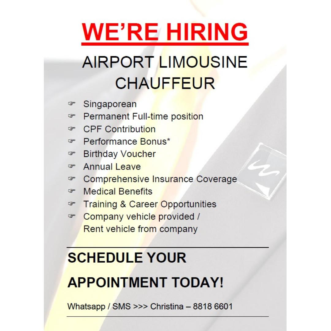 Full Time Limousine Chauffeurs <Vehicle can be driven home>