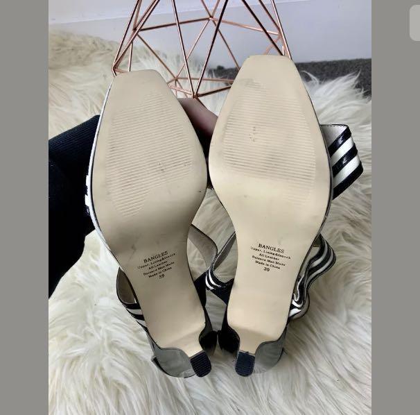 Zoe Wittner 39/US8.5 Bangles leather black white stripe heels shoe vintage style