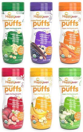 Happy Baby Organic Superfood Puffs Assortment Variety Packs 2.1 Ounce (Pack of 6) Baby Food
