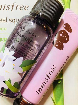 🚚 Innisfree Jeju volcanic clay mask calming x my body Daphne body cleanser wash 2020 year expiry(free innisfree sheet mask )