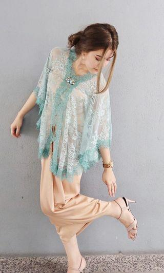 English french lace top in aqua blue