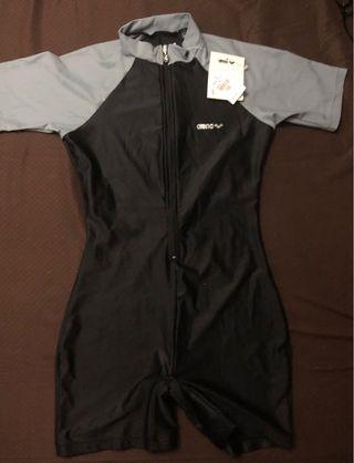 arena grey and black kid's swimsuit