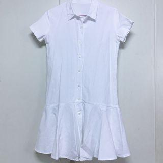 ☀️夏天就要穿洋裝🏖️-白色魚尾裙連身短袖洋裝