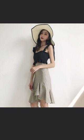 Gingham Checkered Midi Skirt