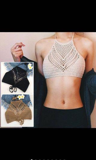 🚚 Crochet Crop Top (BLACK)